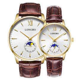 Fashion Couple Watch The Sun The Moon The Stars Leather Band Waterproof Men Women Quartz Watch for Couple Watches