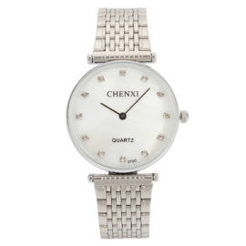 CHENXI Couple Watch Luxury Rhinestone Silver Watch for Couple Watches