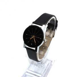 Casual Couple Quartz Wristwatch Convex Round Dial Meridian Leather Strap Watches for Women Men for Couple Watches