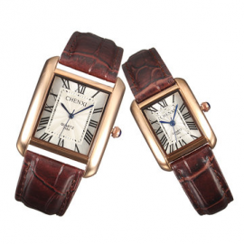 CHENXI Couple Watch Leather Stainless Steel Watch Square Watches for Couple Watches